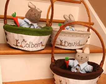 Boys Custom XLarge 15-16inch Heirloom Easter Baskets and liner Hand embroidered -Taking orders for 2019