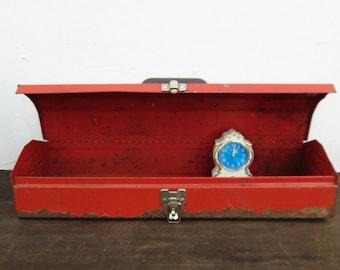 Vintage Rusty Red Metal Tool Box, Rustic Storage, Industrial Organization, Studio Supplies, Metal Box