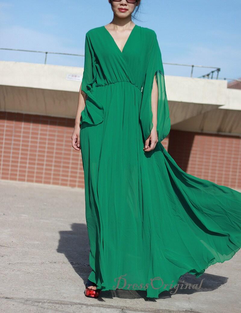 Smaragd Grün Maxi-Kleid fließende Ärmel Smaragdgrün langes