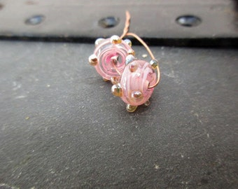 Girly - The torch-pink filigree gold - lampwork beads - glass beads