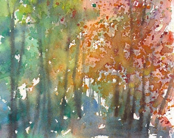 New England Landscape Autumn Series 2015 No.2,  limited edition of 50 fine art giclee prints from my original watercolor
