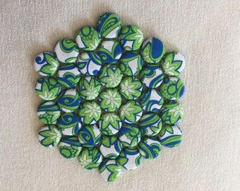 Hexagonal Kitchen Trivet with a Blue & Green Flower Design