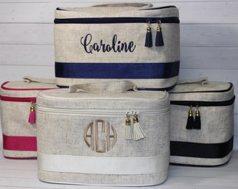 Monogrammed Train Case - Personalized Toiletry Bag - Makeup - Cosmetic Bag - Bridesmaid Gift - Travel Case - Graduation Gift
