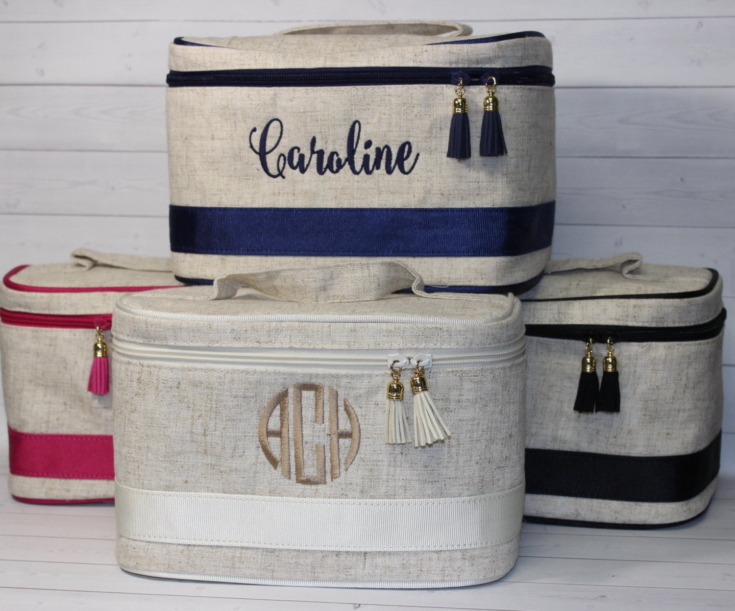 monogrammed train case personalized toiletry bag makeup