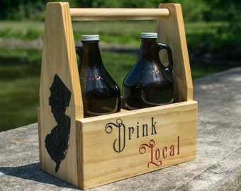 """Your State """"Drink Local"""" Growler Carrier"""