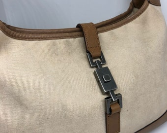 Gucci bardot canvas and leather vintage bag