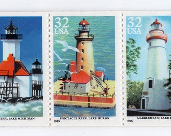 Lighthouses of the Great Lakes- 1995- Unused - Scott #2969-73 - Full Booklet (20)