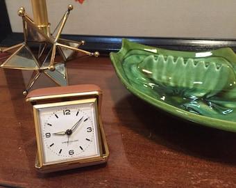 Midcentury WESTCLOX Folding Travel Alarm Clock - Travel Clock - Pocket Clock - Wind-up Clock - Orange Folding Box Case - Small Fold-up Clock