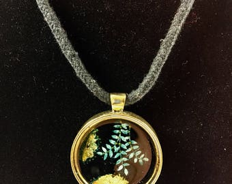 Yellow Gold Pendant - Pysanky on Goose eggshell, added gold leaf