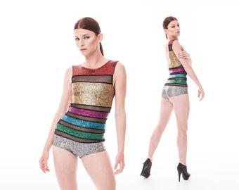 Sample Sale; Rainbow Stripe Bodysuit, Burning Man Outfit, Holographic Bodysuit, Festival Playsuit, Dancewear, EDM Rave Wear, LENA QUIST