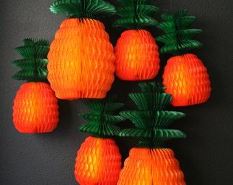 SALE / Honeycomb Pineapple / festive tissue paper decorations / reusable decoration / tropical luau bbq summer garden party decor / shopkins