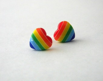 Rainbow Heart Post Earrings