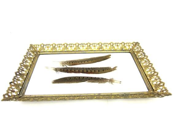 Vintage filagree metal vanity mirror Tray Dresser Organizer Mirror Gold Tone Bedroom Home Decor Free Standing