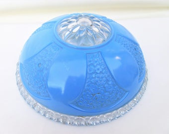 Vintage Glass Shade | Glass Light Fixture | Ceiling Shade | Blue Glass Ceiling Cover | Glass Globe | Light Cover | Ceiling Lamp