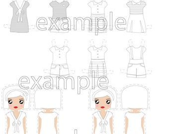 paper toy .paper doll dress printable kit diy. paper toy . grayscale diy paper doll kit. colouring girls party toys.