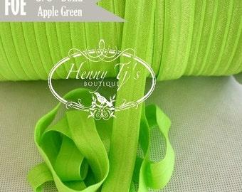 """5/8"""" Shiny APPLE GREEN Fold Over Elastic Headband - 5 or 10 yds Solid foe - Elastic Hair Ties DIY Headband Supplies"""