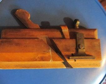 antique brass & wood plane very sharp molding plane