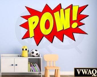 Comic Book Pow Wall Decal Sound Effect Pow Wall Art Superhero Pow Vinyl Wall Decal Home Decor Peel And Stick Sticker VWAQ-CB2