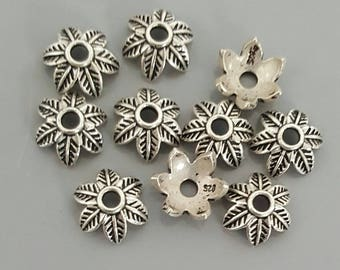 Sterling Silver Flower Bead Cap 9mm- 4 Pieces