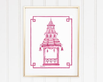 Pink Asian Art, Pagoda Picture, Pink Chinoiserie Print, Pagoda Decor, Pagoda Wall Print, Pink Pagoda Art, Preppy Pagoda
