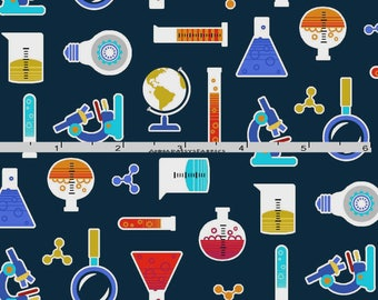 Science Fabric, Chemistry Quilt Fabric, Studio E Fabrics Geek Chic 3734 77, Test Tubes, Beakers, Science Fair, Laboratory Fabric, Cotton