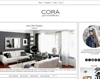 Blogger Template - Black and White Blogger Template - Responsive Blogger Template - Modern Blog Template - Cora
