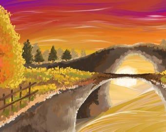 Sunset landscape, nature, acrylic paint, downloadable print