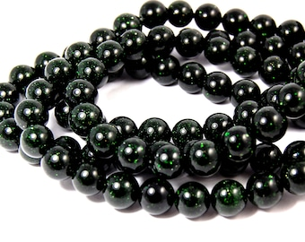 "Two 14.5"" strands Green Goldstone Beads 10mm"