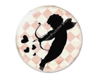 resin cabochon mounted on a stick 25 mm Valentine Cupid 3