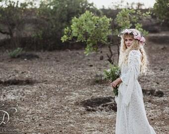 LONG EMPRESS DRESS - Bohemian Lace Hippie Boho Wedding Bride Romantic Casual Shabby chic Plus size Gypsy Ethnic - Off white Cream