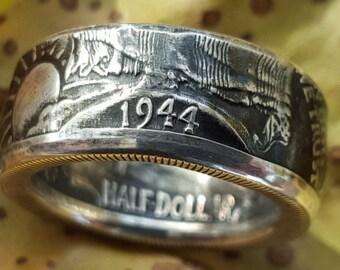 Walking Liberty Silver Coin Ring