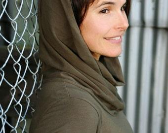 Organic Women's Clothing - Soy Simple Cowl Dress - Long Sleeve - eco-friendly women's clothing