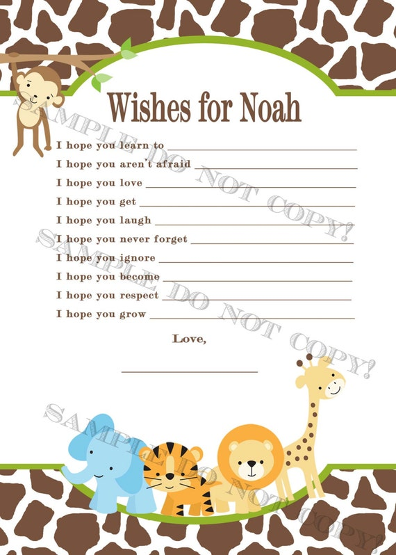PERSONALIZED Safari Baby Shower Game Wishes For Baby