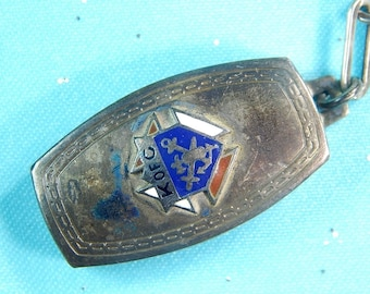 Vintage Knights of Columbus Masonic Fraternal Sterling Silver Enameled Pendant with Chain Collectable Gift Jewelry