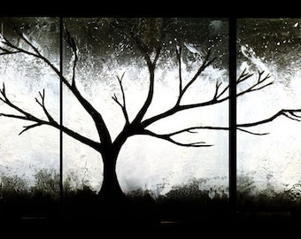 textured wall art Original painting abstract triptych landscape large impasto canvas black white Modern Paintings on 20 x 48 ""