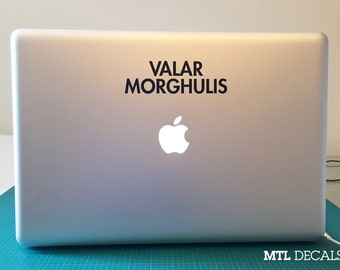 "Valar Morghulis Macbook Decal / Game of thrones Laptop Sticker (5"" x 1.5"")"