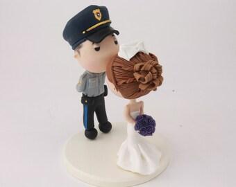 Wedding cake topper. Police Officer and Nurse. Handmade. Fully customizable. Unique keepsake.
