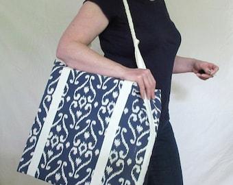 Big shoulder bag - navy Ikat inspired print - cotton canvas tote bag