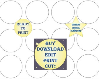 Cupcake Topper Template Printable Blank DIY 2 1/2 Inch Round Cake Toppers Create Your Own Party Decor Editable Add Your Image Party Decor