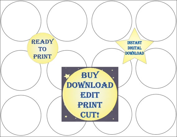 Cupcake Topper Template Printable Blank Diy 2 1 2 Inch Round