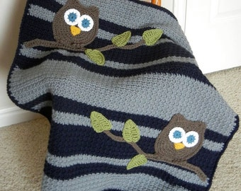 Owl Baby Blanket Boy Baby Shower Gift Navy and Gray