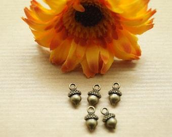 Lot de 6 pendentifs noisette, gland, métal couleur bronze, 13*7 mm