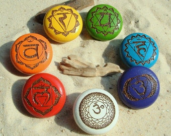 Furniture Knobs Chakra 7 furniture buttons Chakrasymbole-Furniture knobs-7 Chakras-oak-incl. screws