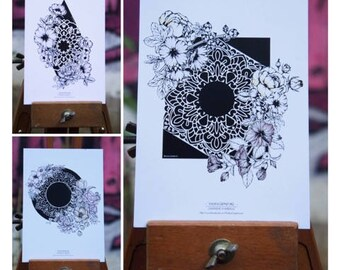Set of 3 postcards geometric flowers & Mandalas