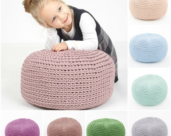 16 colors KIDS size POUF /floor cushion/ hypoalergic pouf/rope  poof/bean bag chair/ Ottoman