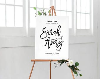 Printable Wedding Welcome Sign, Black and White Welcome Sign, Simple Modern Wedding Welcome Sign