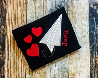 Boy's Paper Airplane and Hearts T-Shirt - Personalized Valentine's Day Shirt - Monogrammed Holiday Shirt - Black Bodysuit or Tshirt