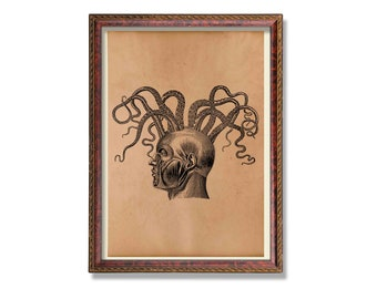 Medical poster Vintage head anatomy print Anatomical decoration