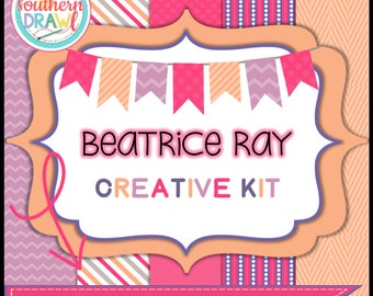 Digital Scrapbooking Papers and Frames BEATRICE RAY Creative Kit