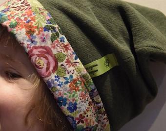 reversible Beanie (51 cm) stitch/khaki cotton rosebud multicolor